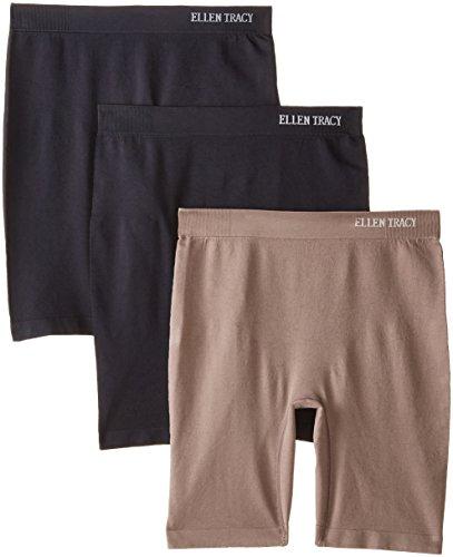 Ellen Tracy Women's 3 Pack Flawless Fit Seamless Slip Short Panty