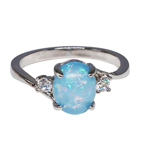 Amaping Clearance Rings, Women Sterling Silver Rings Oval Cut Fire Opal Diamond Band Rings Jewelry Gift (Blue, 8)