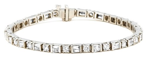 14k Gold Baguette and Round-Cut Diamond Tennis Bracelet (3.40 cttw, H-I Color, SI1-I2 Clarity), 7