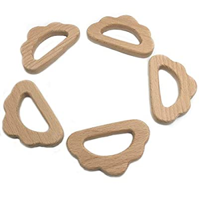 Amyster 5pcs Lovely Cartoon Wood Teether Pure Natural Animal Cloud Shape Baby Teething Nursing Beech Teether Baby DIY Pendant Toy (C036-5PCS): Toys & Games