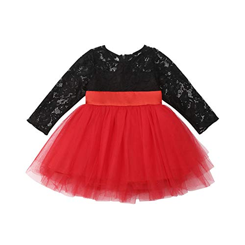 Kids Baby Girls Lace Layer Tulle Tutu Party Wedding Dress Long Sleeve Bowknot Princess Christmas Dresses ()