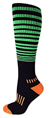 "MOXY Socks Black with Lime Green/Orange Knee-High Premium ""The Force"" Fitness Deadlift Socks"