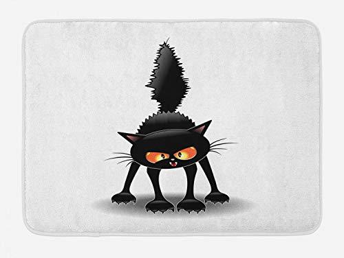 Lunarable Halloween Cat Bath Mat, Grumpy Kitten Cartoonish