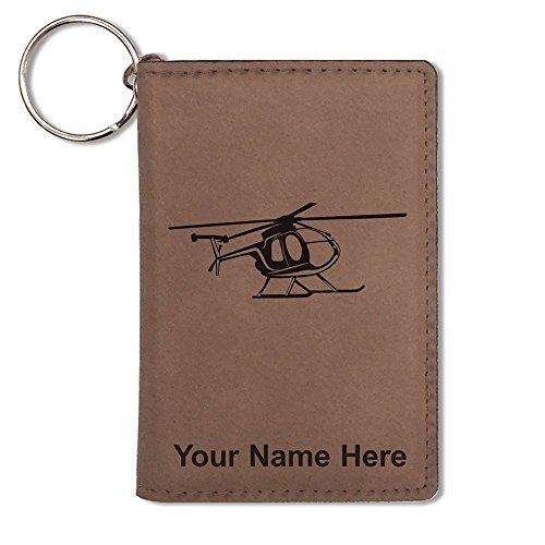 (ID Holder Wallet, Helicopter 1, Personalized Engraving Included (Dark Brown))