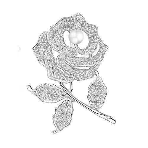 Yonhi Brooch Pins for Women Vintage Flower Brooch Pins for Women Wedding Party Jewelry Brooch Pin Silver (Silver Flower)