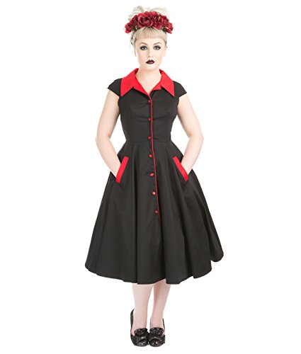 Hemd London amp;R Kleid Blumenwiese 50s Style H Jahre Schwarz fAqSnx