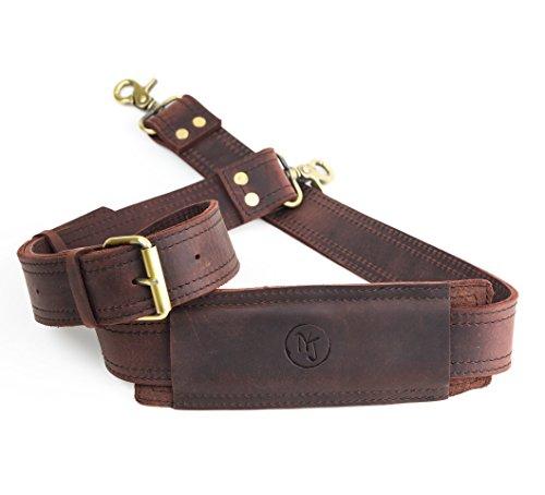Messenger Bag Strap Replacement - Quality GENUINE COWHIDE Leather Adjustable Shoulder Strap; for messenger, laptop, camera, travel bags and more (dark brown) -