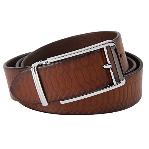 ERIC YIAN Men's Genuine Leather Belt Men Snake Grain Soft Surface Belts (34, camel) (Snake Designer Belt)