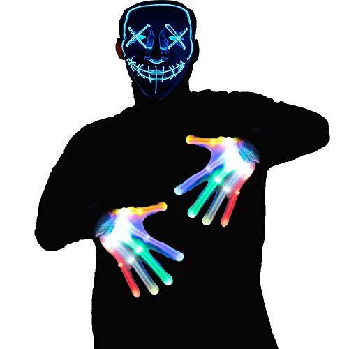 WesGen Halloween Purge LED Mask and LED Gloves Kit Costume Festival Parties Scary Mask and Gloves Light Up Creepy Masks
