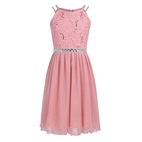 FEESHOW Big Girls Sequins Lace Bodice Halter Junior Bridesmaid Dress Shimmer Mesh Wedding Party Prom Gown Coral Pink 12