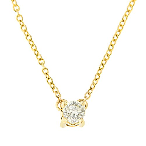 - 10k Yellow Gold (.20ct TDW) Solitaire Round-Cut Diamond Certified Pendant Necklace (H-I, SI2-SI3)