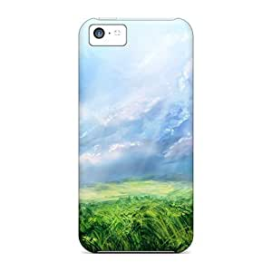 MMZ DIY PHONE CASEFashionable Style Case Cover Skin For ipod touch 5- Drawn S Blue Sky Over Meadows