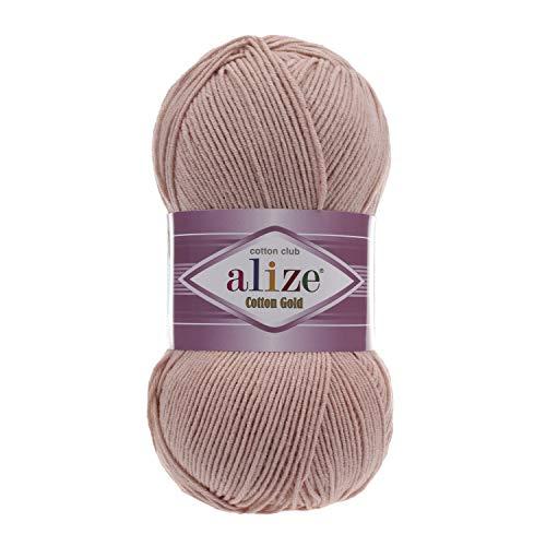 55% Cotton 45% Acrylic Yarn Alize Cotton Gold Thread Crochet Hand Knitting Art Lot of 4skn 400 gr 1444 yds Color 161 Powder