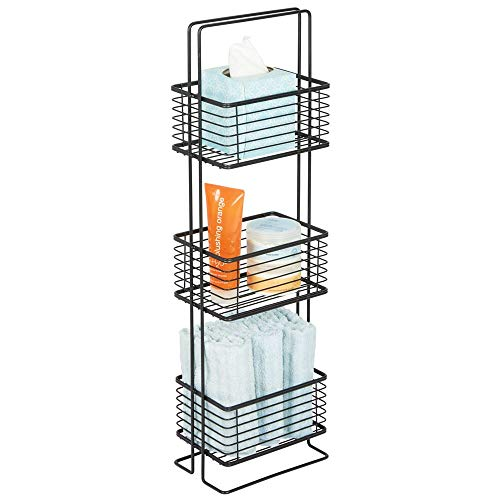 (mDesign 3 Tier Vertical Standing Bathroom Shelving Unit, Decorative Metal Storage Organizer Tower Rack with 3 Basket Bins to Hold and Organize Tissues, Hand Soap, Toiletries - Black)