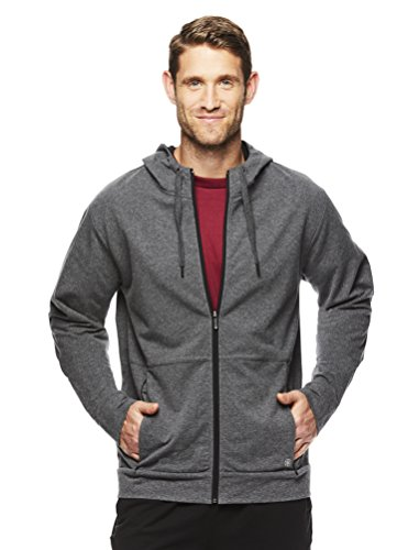 Gaiam Men's Foundation Full Zip Up Jacket - Hooded Activewear & Yoga Sweater - Charcoal Heather Foundation, Small