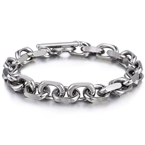 Trendsmax 9mm Mens Chain Silver Tone Cable Link Stainless Steel Bracelet T/O Toggle Clasp 8inch - 8in Toggle Bracelet
