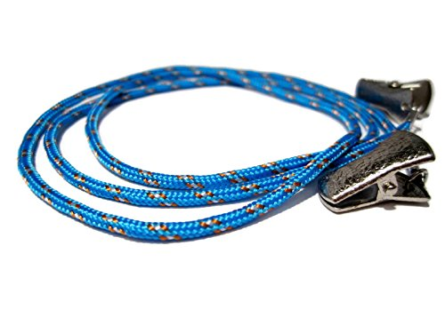 ATLanyards Bright Blue Paracord Eyeglass Holder with Clips, Clip Eyeglass Cord