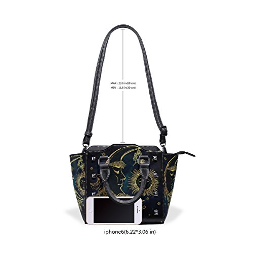 And Bags Crescent TIZORAX Leather Tote Sleeping Women's Shoulder Handbags Moon Sun BfqwgqOx