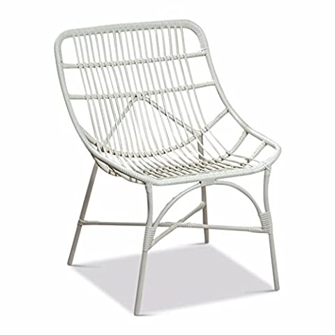 The Iconic Key West Chair in White, Woven Weather Friendly PE and Iron, From our Beach Chic Collection, By Whole House - Classic Collection Adirondack Deck Chair