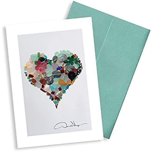 Elegant Sea Glass Heart Note Cards. Love 3.5x5. 8 Blank Folded Cards with Matching Envelopes. Unique Birthday Sales