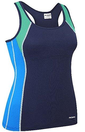 Bohn Swimwear Jansie Tankini Swim Top Navy and Blues (US 10)
