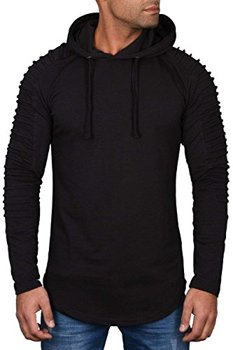 LAICIGO Mens Casual Long Sleeve Ribbed Hooded Sweatshirts Athletic Muscle Hoodie (Athletic Ribbed Pullover)