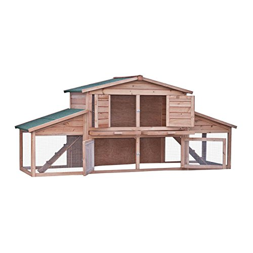 ALEKO 91X28X39 Inches Wooden Pet House Poultry Hutch, Rabbits Chickens Hen Coop Wooden Cage