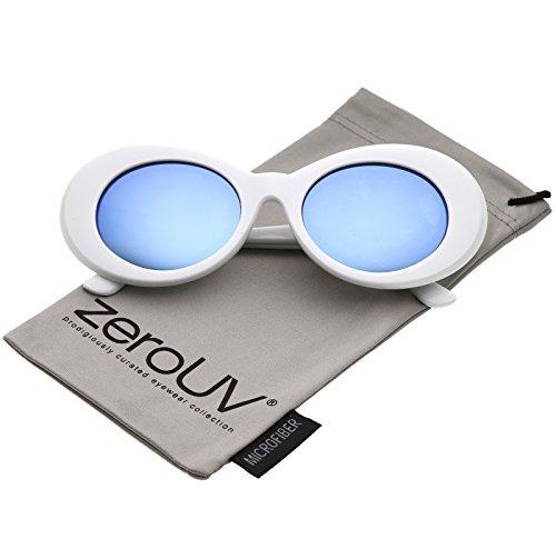 zeroUV - Retro White Tapered Arms Colored Mirror Lens Oval Sunglasses 50mm (White / Blue - Acne White Sunglasses