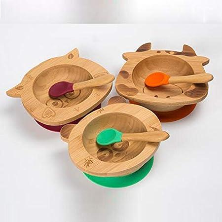 CHAWHO Bandeja Infantil Bowl adherente BPA Free Set de Bowl adherente y cuchara para beb/é en combinaci/ón 1# Bamb/ú natural