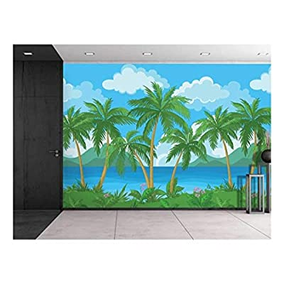 Made With Top Quality, Fascinating Piece, Large Wall Mural Image of Tropical Scenery with Palm Trees Vinyl Wallpaper Removable Decorating