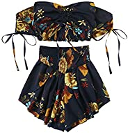SheIn Women's Boho Floral Two Piece Outfit Off Shoulder Drawstring Crop Top and Shorts