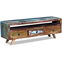 Daonanba Vintage-style TV Cabinet with 3 Drawers Solid Reclaimed Wood Practical TV Stand