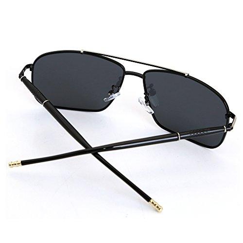 rectangulaire Natwve de 100 Argent protection soleil légères en polarisées amp; Noir 60mm métal Co Noir Lunettes ultra UV AtwvAr