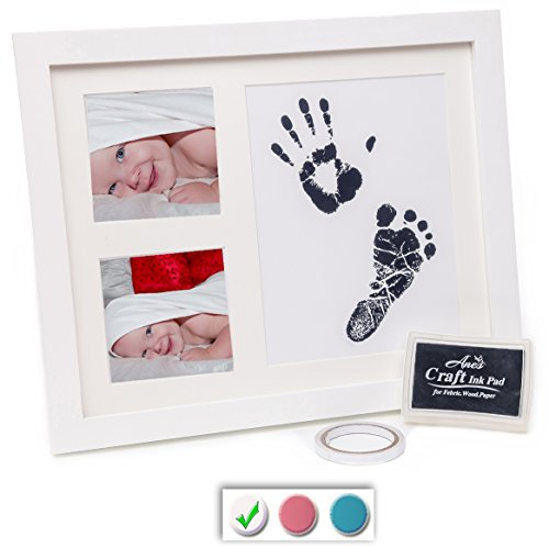 BABY HANDPRINT KIT - BABY HANDPRINT AND BABY FOOTPRINT KIT - Unisex Keepsake Frames for Babies + Baby Shower Wishes Card 2-4x6 Photo Folder, Unique Baby Gift For Registry by Anes