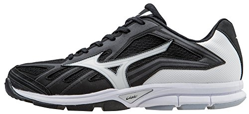 Mizuno Men's Players Trainer Turf Shoe, Black/White, 11 M US