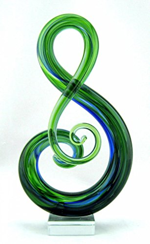 11'' Hand Blown Glass Murano Art Style Fused Sculpture Music Clef Note Treble Blue Green by Exquisite Glass Decor