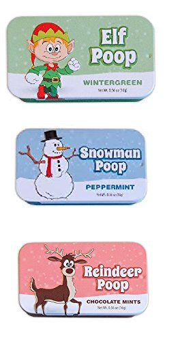 Funny Christmas Mints - White Elephant Gifts - Set of 3 Holiday Mints - Elf Poop, Reindeer Poop, and Snowman Poop! ()