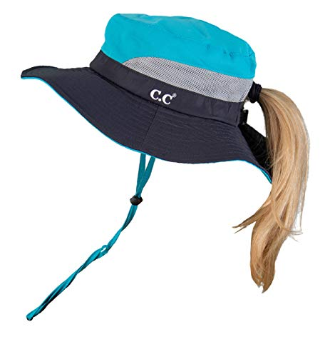 SH-2177-3146 Ponytail Sun Hat Foldable Mesh Outdoor Beach Bucket Hat, Navy/Turquoise