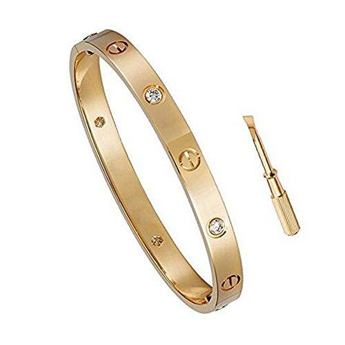 K.Klemm Women's Fashion Mosaic Crystal Love Bracelet - Screws Designs Titanium Steel Bracelets - Gift Box Packaging (Rose Gold, 7.5)