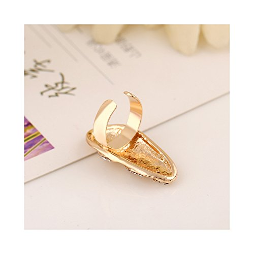 Winters Secret Gold Color Women and Girls Diamond Accented Fashionable Flower Butterfly Crown Bowknot Fingernail Ring