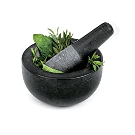 Fresco Granite Mortar and Pestle, Black, Small 3 Granite mortar pestle; infuse new appetizing blends of fresh or dried spices and herbs into your favorite recipes Premium quality granite mortar is heavy, well balanced and suitable for rigorous pounding and grinding The pestle design allows for easy maneuvering and effortless grinding