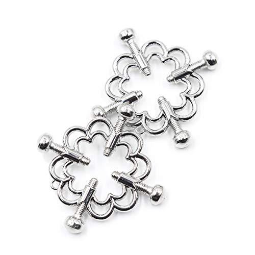 Non-Pierced Nipplérings, Body Piercing Rings, Adjústable Nippléring Shield Rings with Bell, Steel Shields Screw Body Flower Piercing Clamp