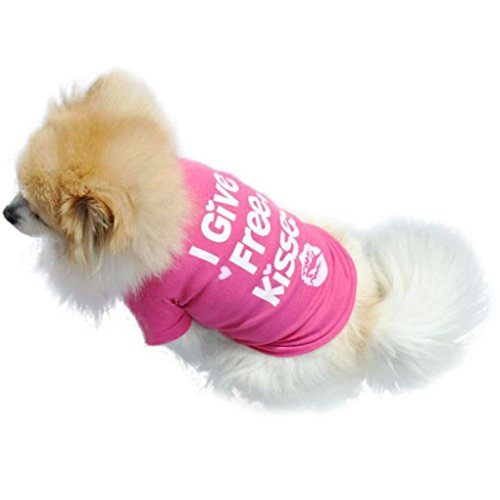 Puppy Clothes,Neartime Small Dog Summer Shirt Pet Vest Doggy Tees (S, Pink) (Doggy Clothes)