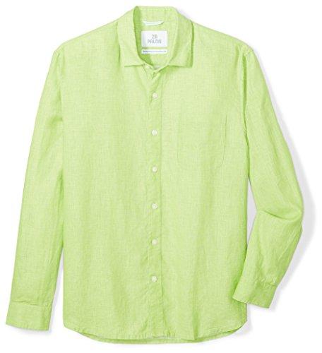 28 Palms Men's Standard-Fit Long-Sleeve 100% Linen Shirt, Lime Green, -