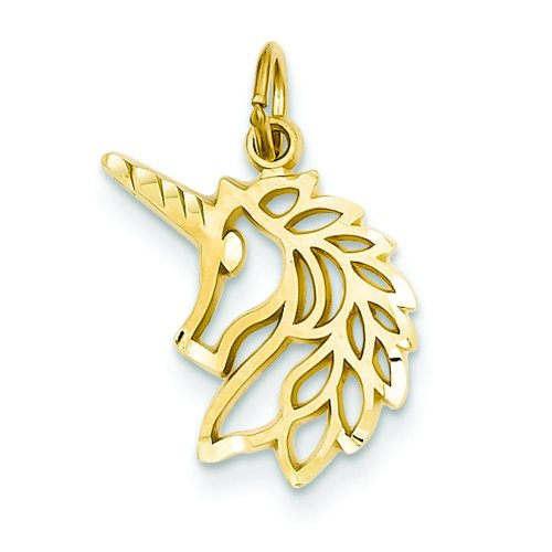 14K Yellow Gold Unicorn Charm Pendant FindingKing (Unicorn Charm Yellow 14k Gold)
