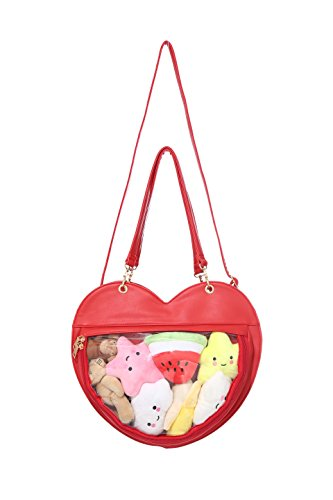 Clear Candy Leather Handbag Kawaii Purse Transparent Backpacks Love Heart Shape Crossbody Bags Lolita Ita Bag ()