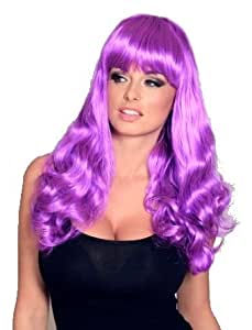 Katy Perry Style Bright Purple Long Curly Wig With Fringe