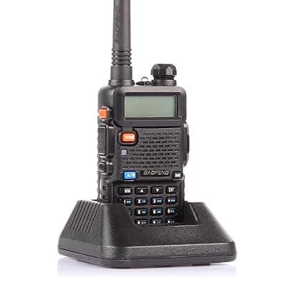 BaoFeng UV-5R I6+ Dual-Band 136-174/400-480 MHz FM Ham Two-way Radio Enhanced Features 1 year USA Warranty Black