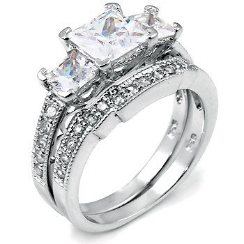 Com Sterling Silver Cubic Zirconia Cz Wedding Enement