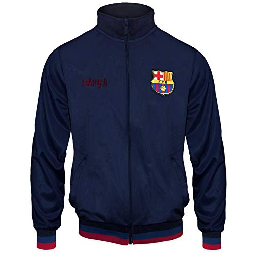 (FC Barcelona Official Soccer Gift Mens Retro Track Top Jacket Navy Medium)